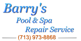 Barry's Pool & Spa Repair service logo, contact info 713-973-8868.